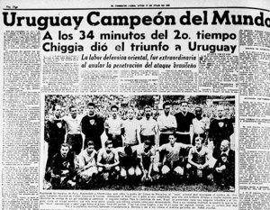 F 15 - Jornal uruguaio noticia sobre a vitíra  uruguaia