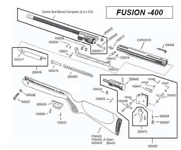 Parts Breakdown of Airgun Fusion 400 Cometa