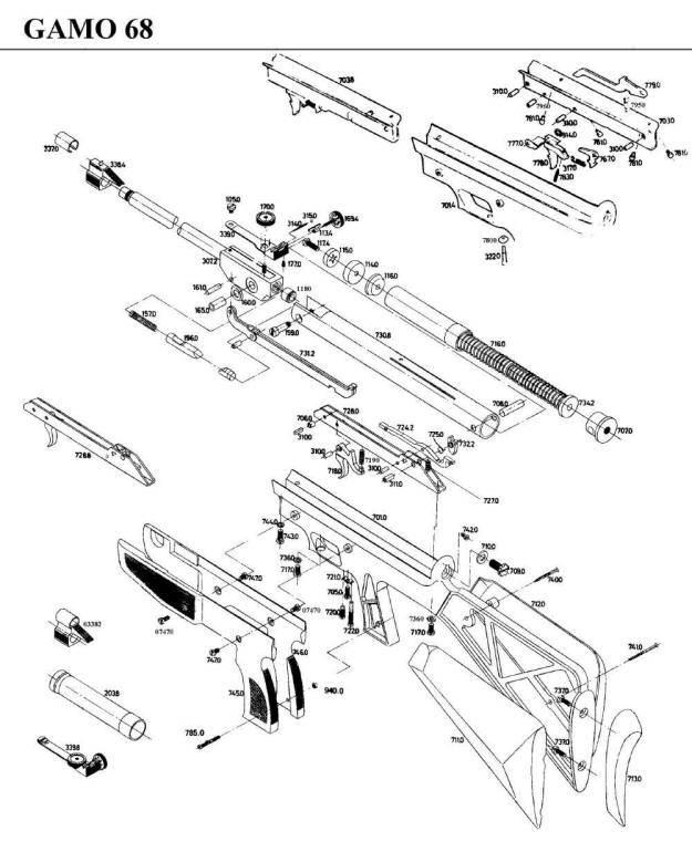 Gamo 68 airgun parts breakdown.