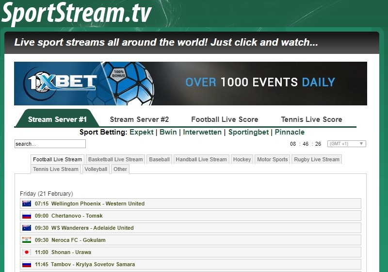 Sportstream Hompage