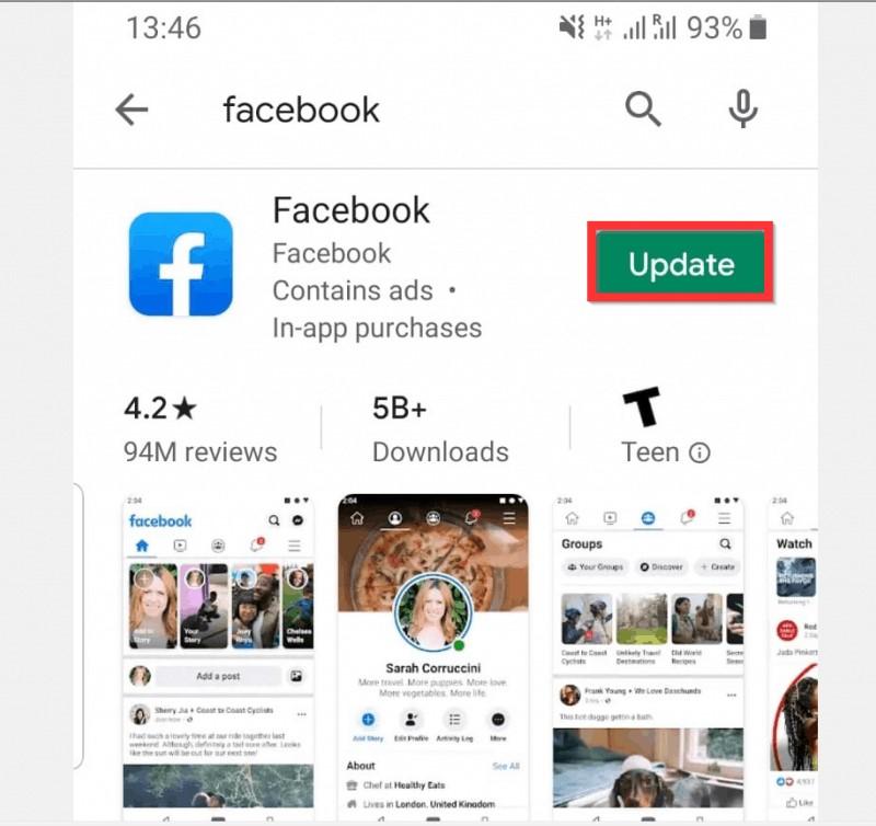 Facebook-Video wird nicht abgespielt Facebook-Android aktualisieren