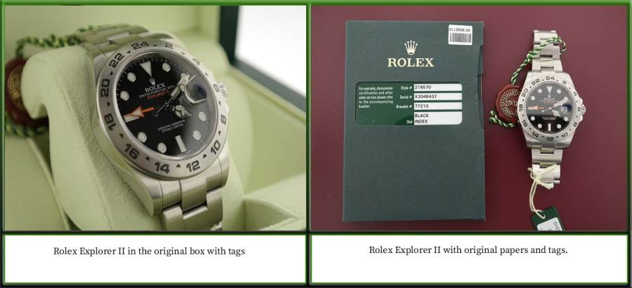 Rolex Box and Papers Example