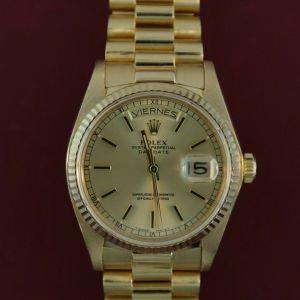 Men's Rolex Day-Date 18038 President Spanish Day Wheel 18K Yellow Gold