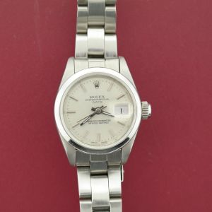 Ladies Rolex Date 69173 Stainless Steel Oyster Band w/Silver Dial Circa 1990