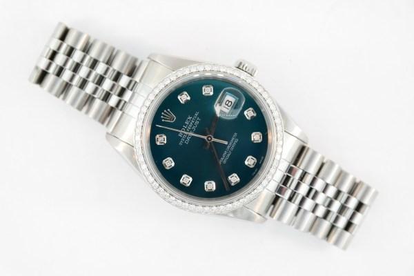 Rolex Datejust 16200 Dark Teal Diamond Dial