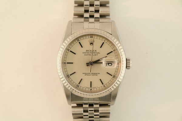Rolex Datejust 16234 Silver Stick Dial Jubilee Band