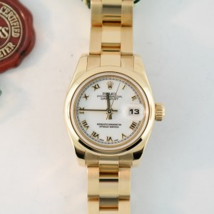 Ladies Rolex Datejust 179168 18K Yellow Gold White Roman Dial