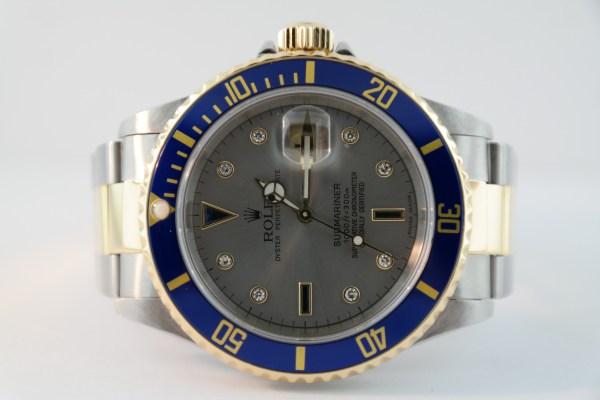 Rolex Submariner 16613 Serti Slate Dial Two-Tone