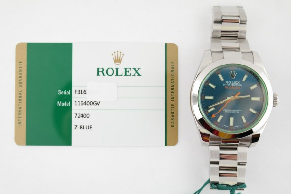 "Rolex Milgauss 116400GV ""Z-Blue"" Dial Green Crystal Oyster Band Year 2017"