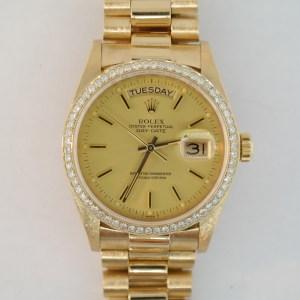Men's Rolex Day-Date 18038 Diamond Bezel President 18K Yellow Gold Circa 1981