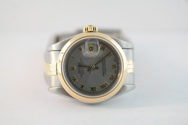 Ladies Rolex Datejust 69169 Slate Gray Roman Dial Two-Tone Jubilee Band 1996