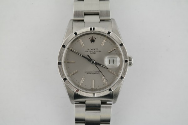 Men's Rolex Date 15210 Engine Turned Bezel Stainless Steel Oyster Band Year 2002