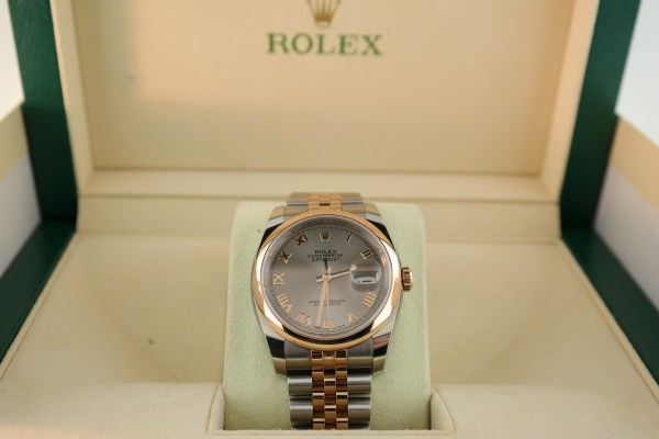 Men's Rolex Datejust 116201 Silver Roman Dial Two-Tone Rose Gold Jubilee Band
