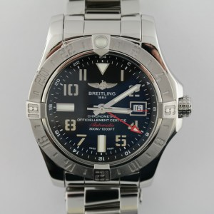 Men's Breitling Avenger II GMT A32390 Stainless Steel 43mm Black Dial Box & Card