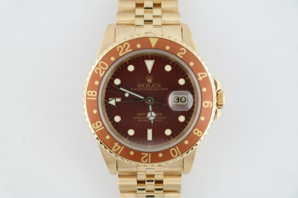 Vintage Rolex GMT Master 16758 Root Beer Jubilee Band 18K Yellow Gold Circa 1982
