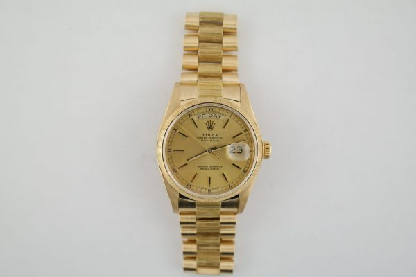 Rolex Day-Date 18078 Champagne Dial Barked Band & Bezel President Circa 1978