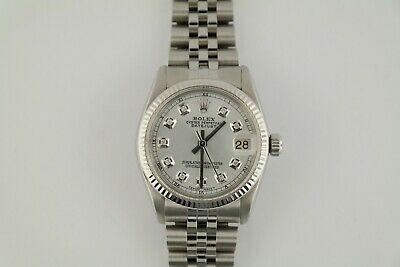 Rolex Datejust 6827 Silver Diamond Dial & Bezel Jubilee Band 31mm White Gold Bezel