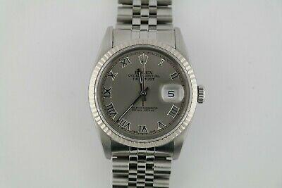 Rolex Datejust 16234 Grey Roman Dial Jubilee Band 36mm