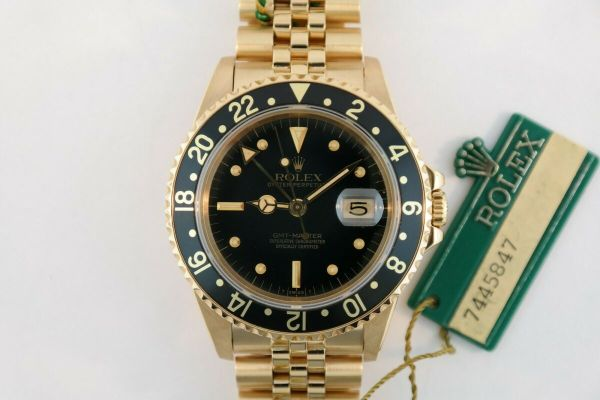 "Rolex GMT-Master 16758 18K Yellow Gold Black ""Nipple"""