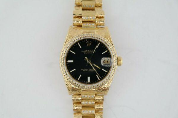 Midsize Rolex Datejust 68278 Black Dial President Custom Nugget Finish Barked Band Diamond Bezel