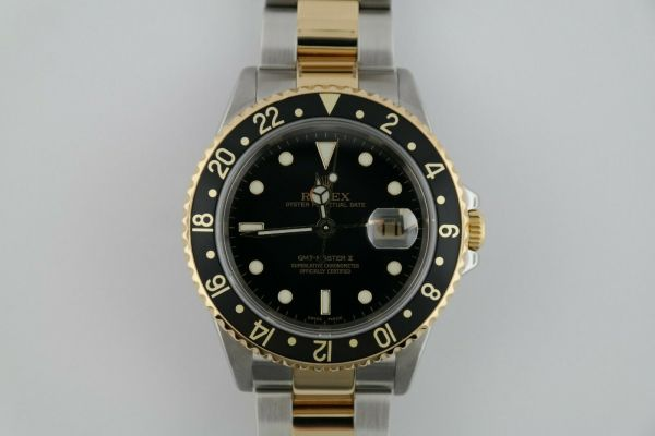 Rolex GMT-Master II 16713T Two-Tone Black Bezel & Dial Oyster Band