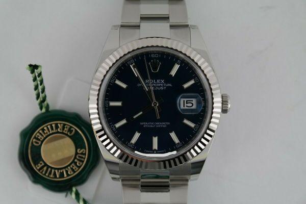 Rolex Datejust 41 126334 Blue Index Dial Oyster Band Fluted Bezel