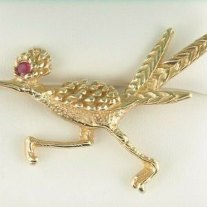 14K Yellow Gold Unique F.J.G Roadrunner Brooch with Ruby Eye