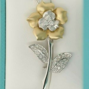14K White & Yellow Gold Rose Brooch with Pave Cut Diamonds