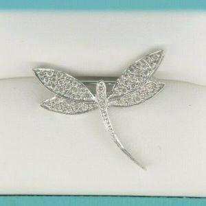 14K White Gold & Diamond Dragonfly Brooch/Pendant