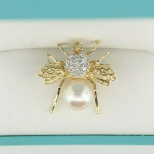 14K White & Yellow Gold & Pave Diamond & Pearl Bee Brooch