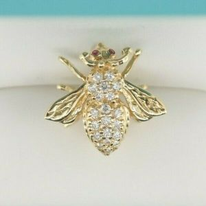 14K Bee Pin / Brooch with Pave Set Diamonds and Rubies