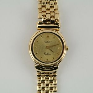 Ladies Rolex Cellini 6621/8 Anniversary Champagne Dial 18K Yellow Gold Mesh Band