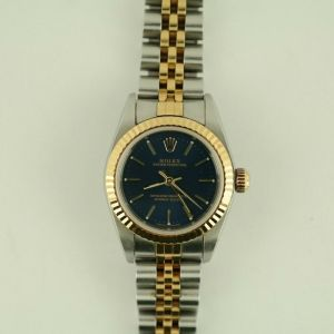Rolex Ladies Oyster Perpetual 79193 Two-Tone Blue Stick Dial 26mm