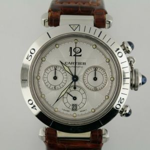 Cartier Pasha 2113 Silver Dial Chronograph Stainless Steel