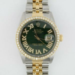 Rolex Datejust 16013 Green Roman Diamond Dial & Diamond Bezel Jubilee Band