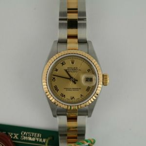 .Rolex Ladies Datejust 79173 Champagne Roman Dial Oyster Band