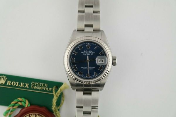 Ladies Rolex Datejust 79174 Blue Roman Dial Oyster Band Box & Papers