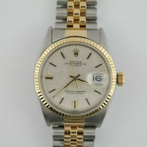Rolex Datejust 1601 Grey Linen Dial Two-Tone Jubilee Band