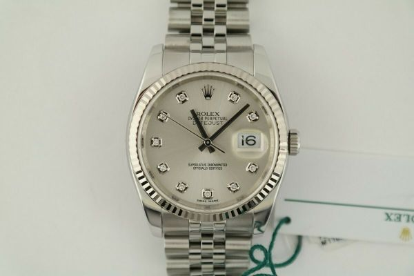 Rolex Datejust 116234 Silver Diamond Dial Jubilee Band