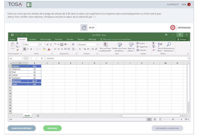 Exemple d'exercice à réaliser directement dans Excel