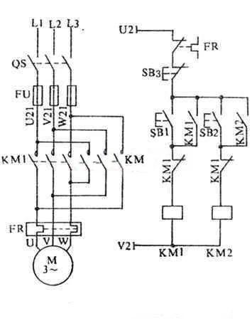 Circuit wiring diagram of contactor interlock reversing