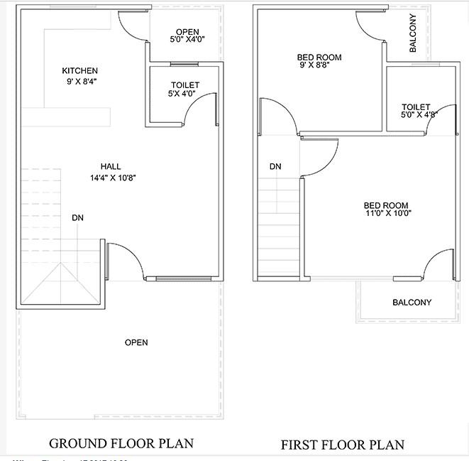 450 Square Feet Double Floor Duplex Home Plan Acha Homes