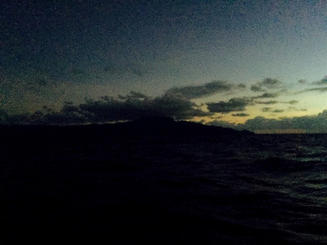 Sighted at 4:22am after 27 days at sea, this black lump was quite a sight