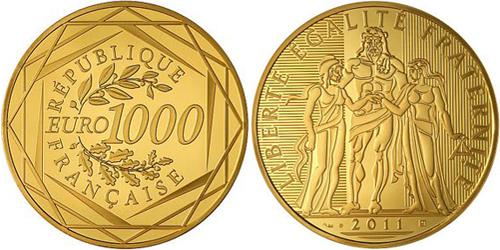 piece d or 1000 euros hercule 2011