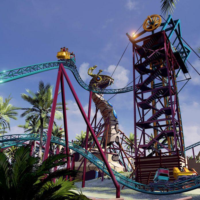 Ilustração mostra percurso da Cobra's Curse, montanha-russa que o Busch Gardens estreia neste verão