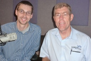 photo of Pete Nowakowski and Jim Acheson in radio studio for Lucy Ann Lance interview 23 September 2013