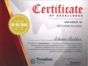 award certificate from ThreeBestRated for excellence 01-01-2018 Acheson Builders