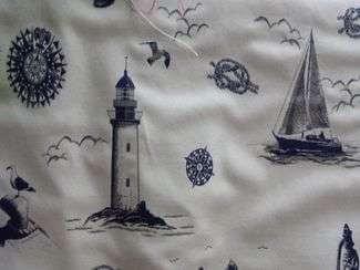 tissu motif marin ecru bleu marine