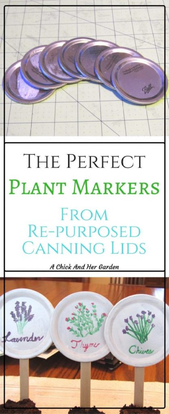 Craft with old canning lids and make these super cute plant markers!