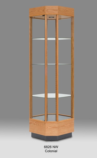 Wood Tall Glass Wood Display Cabinet Tower Display Cases